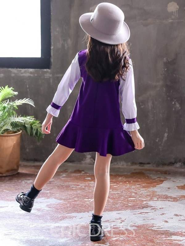 Ericdress Ruffles Bowknot Girl's Dress