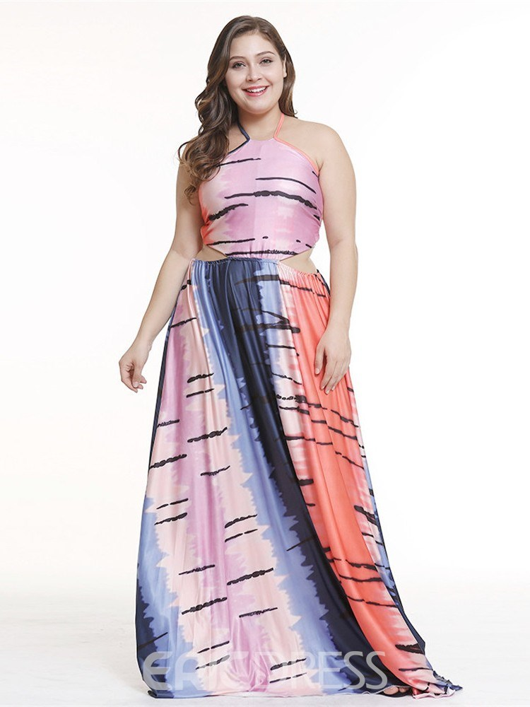 Ericdress Plus Size Backless Floor-Length Sleeveless Sexy Color Block Dress