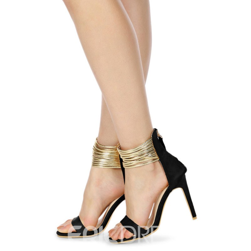 Ericdress Faux Suede Stiletto Heel Zipper Women's Sandals