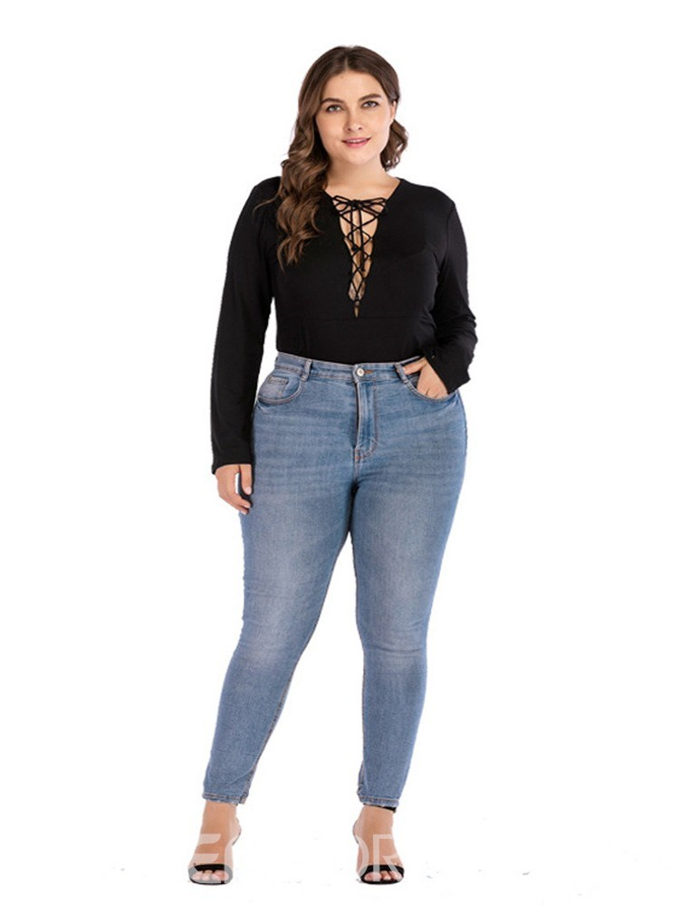 Ericdress Plus Size Sexy Lace-Up Plain Slim Jumpsuit