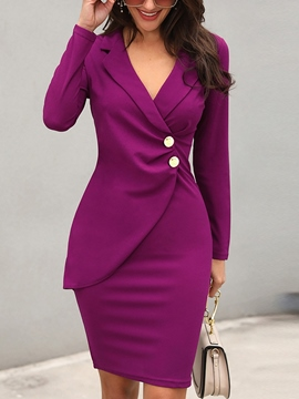 Ericdress Notched Lapel Knee-Length Button Bodycon Office Lady Dress
