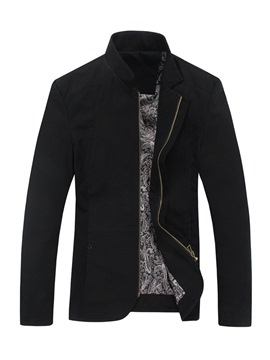 Ericdress Plain Stand Collar Straight Mens Casual Jacket