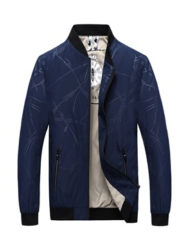 Ericdress Print Striped Stand Collar Mens Casual Jacket