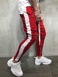 Ericdress Patchwork Lace Up Slim Hip Hop Mens Casual Sports Pants фото