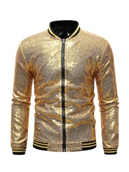 Ericdress Patchwork Sequins Stand Collar Mens Casual Jacket фото