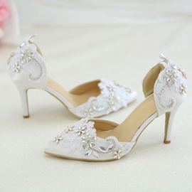 Ericdress Lace Slip-On Stiletto Heel Wedding Shoes