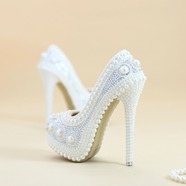 Ericdress Round Toe Beads Stiletto Heel Wedding Shoes