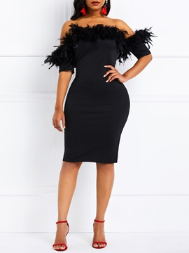 Ericdress Feather Oblique Collar Bodycon Black Dress