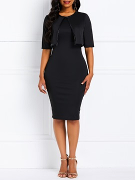 Ericdress Bodycon Short Sleeves Knee-Length Black Dress