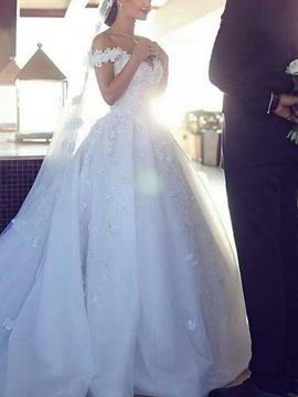 Ericdress Off-The-Shoulder Applique Ball Gown Wedding Dress