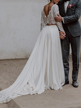 Ericdress Long Sleeves Button Lace Beach Wedding Dress 2019