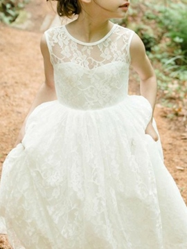 Ericdress Round Neck Backless Lace Flower Girl Dress 2019