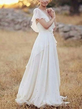 Short Sleeves A-Line Appliques Beach Wedding Dress