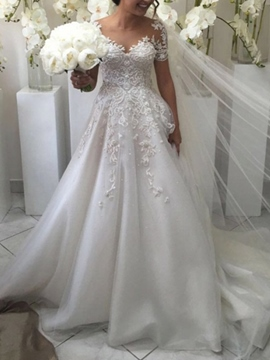 Ericdress Short Sleeves Floor-Length A-Line Outdoor Wedding Dress