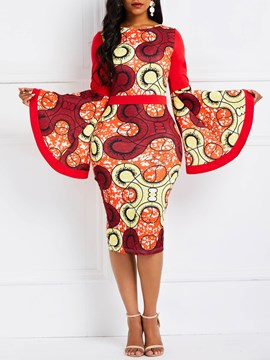 Ericdress Knee-Length Print Long Sleeve Flare Sleeve Dress