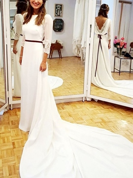 Ericdress 3/4 Length Sleeves A-Line Wedding Dress