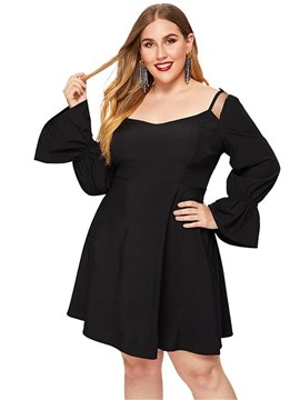 Ericdress Plus Size Long Sleeve Feather Above Knee A-Line Pullover Dress