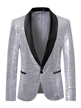 Ericdress Patchwork Sequins One Button Mens Party Ball Blazer