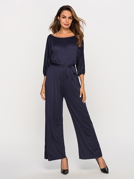 Ericdress Plus Size Lace-Up Casual High Waist Wide Legs Jumpsuit