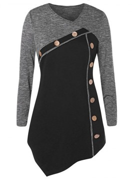 Ericdress Color Block Long Sleeve Mid-Length Slim Fall T-Shirt