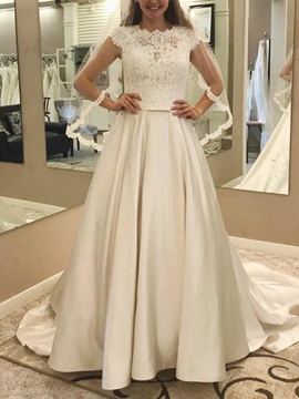 Ericdress Button Cap Sleeves Lace Wedding Dress