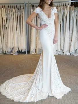 Ericdress V-Neck Court Train Mermaid Lace Wedding Dress