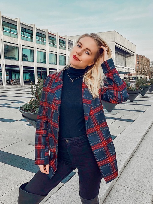 Ericdress Plaid Double-Breasted Plaid Notched Lapel Straight Casual Blazer