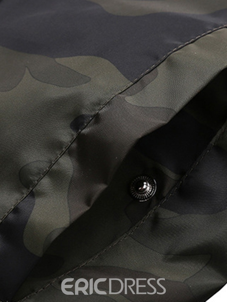 Ericdress Camouflage Printed Stand Collar Mens Jacket