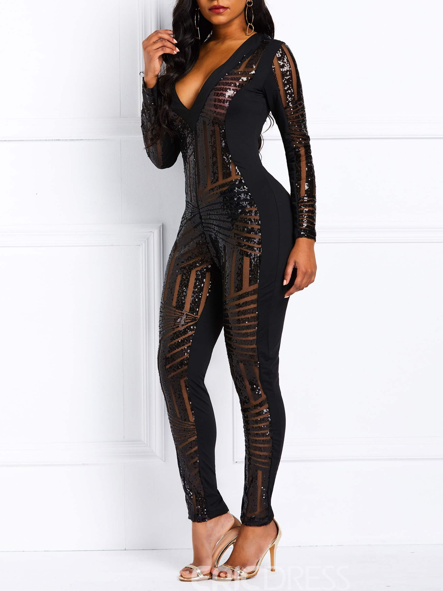 Ericdress Patchwork See-Through Party Women's Jumpsuits