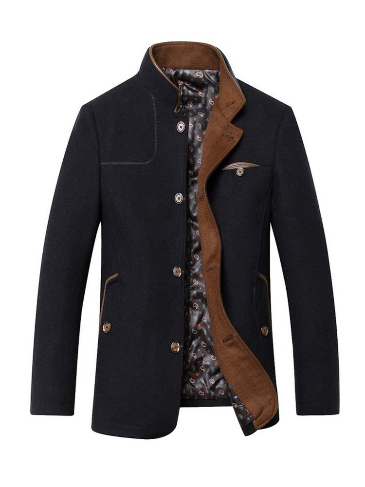 Ericdress Plain Stand Collar Single Breasted Mens Winter Coat