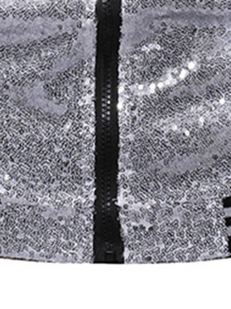 Ericdress Patchwork Sequins Stand Collar Mens Casual Jacket