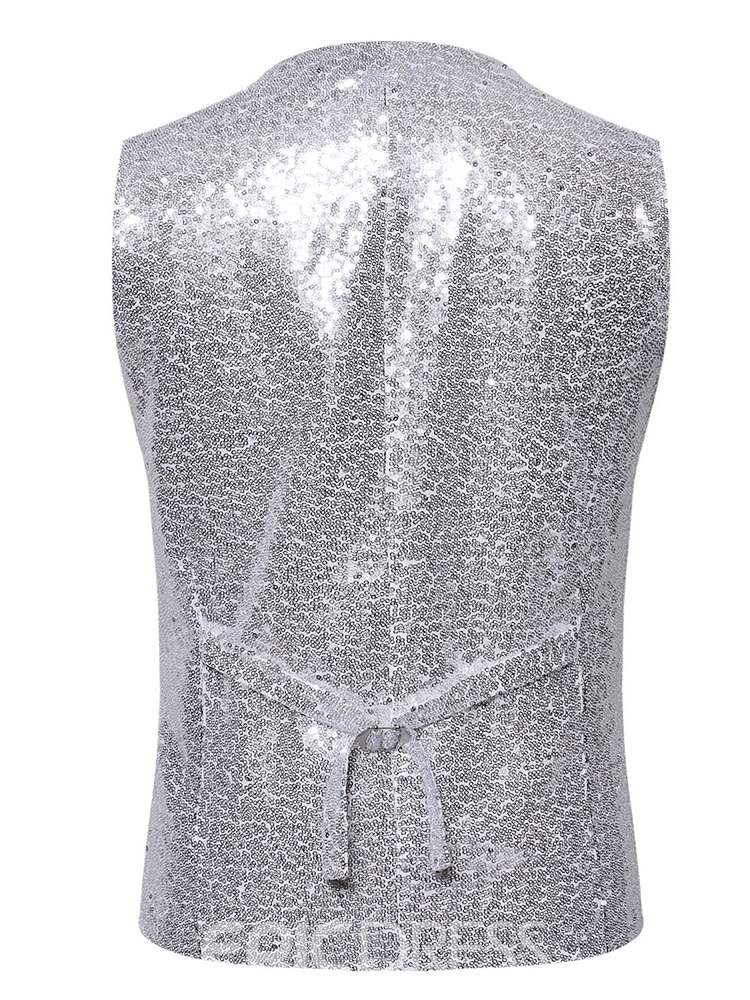 Ericdress Plain Sequins Single-Breasted Mens Party Waistcoat
