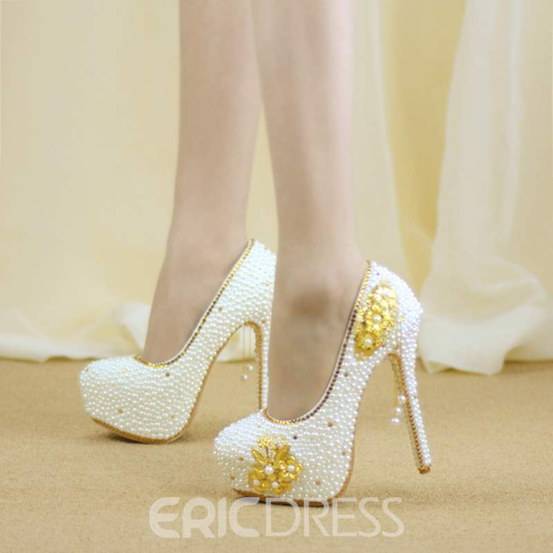 Ericdress Beads Round Toe Platform Wedding Shoes