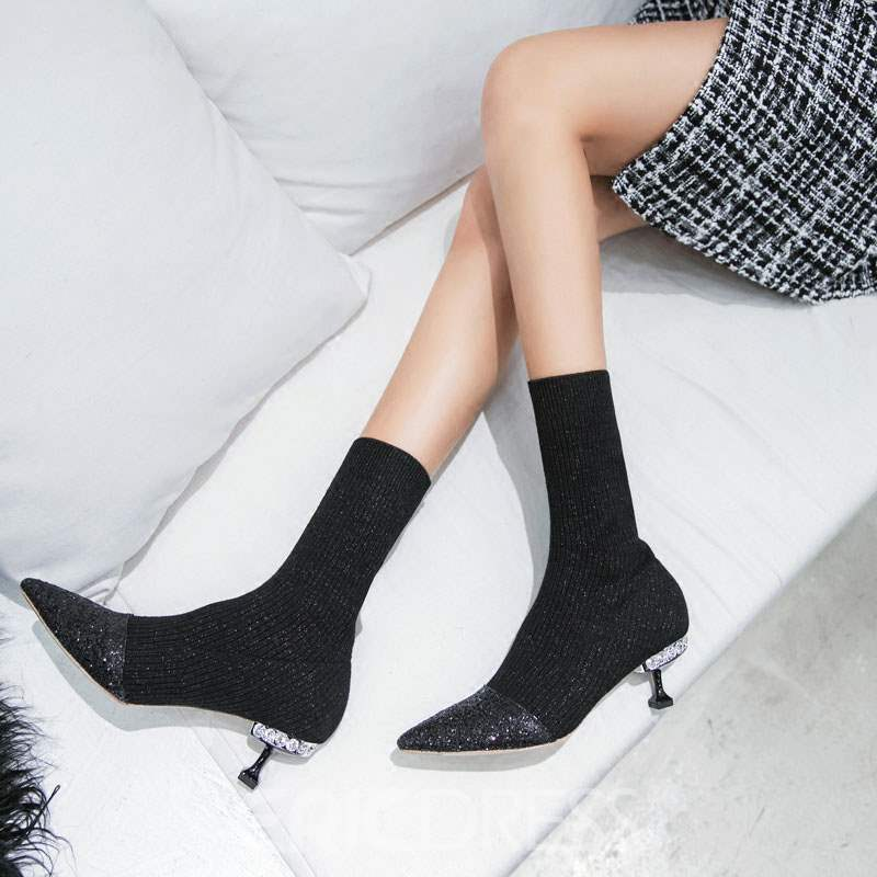 Ericdress Stiletto Heel Pointed Toe Patchwork Women's Ankle Boots