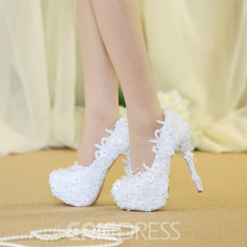 Ericdress Stiletto Heel Slip-On Round Toe Wedding Shoes
