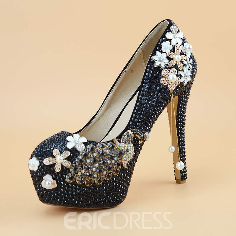 Ericdress Round Toe Slip-On Beads Wedding Shoes