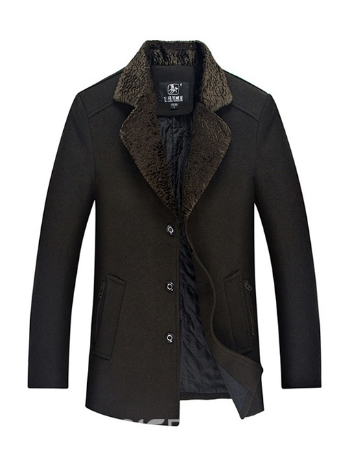 Ericdress Plain Lapel Single Breasted Mens Casual Wool Coat