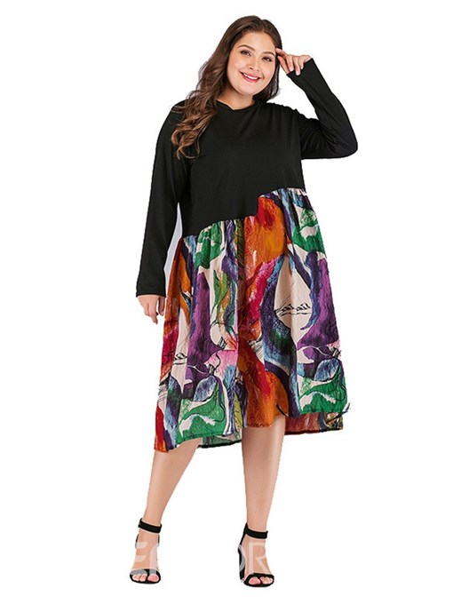 Ericdress Plus Size Round Neck Patchwork Color Block Regular Dress