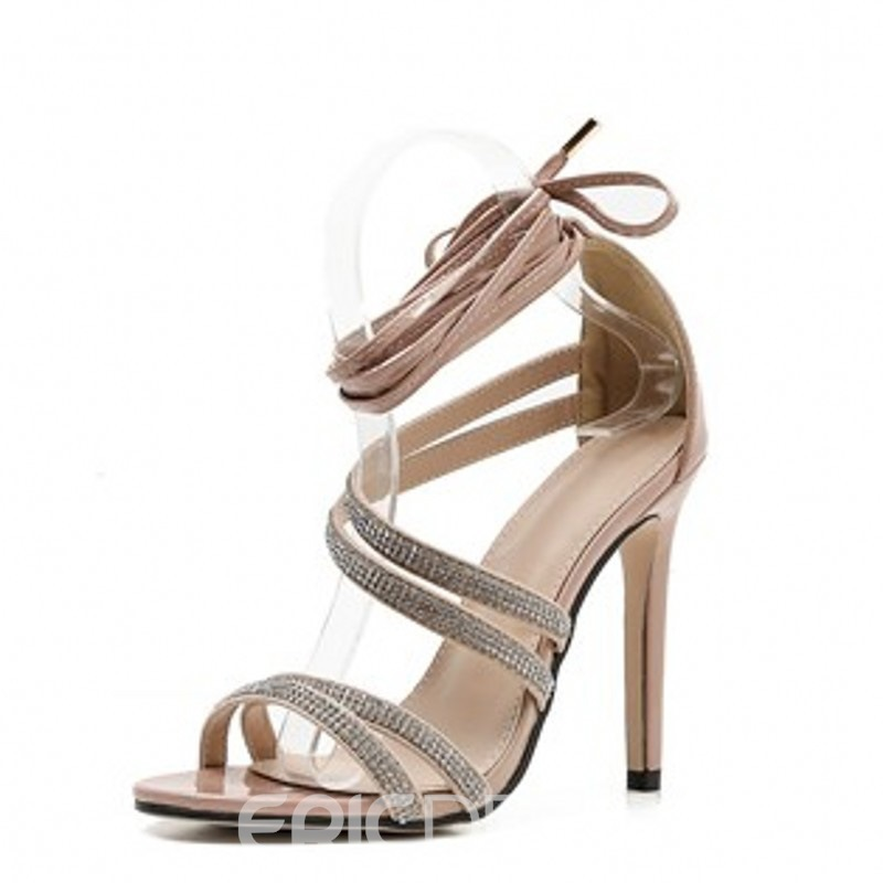 Ericdress Rhinestone Stiletto Heel Heel Covering Women's Sandals