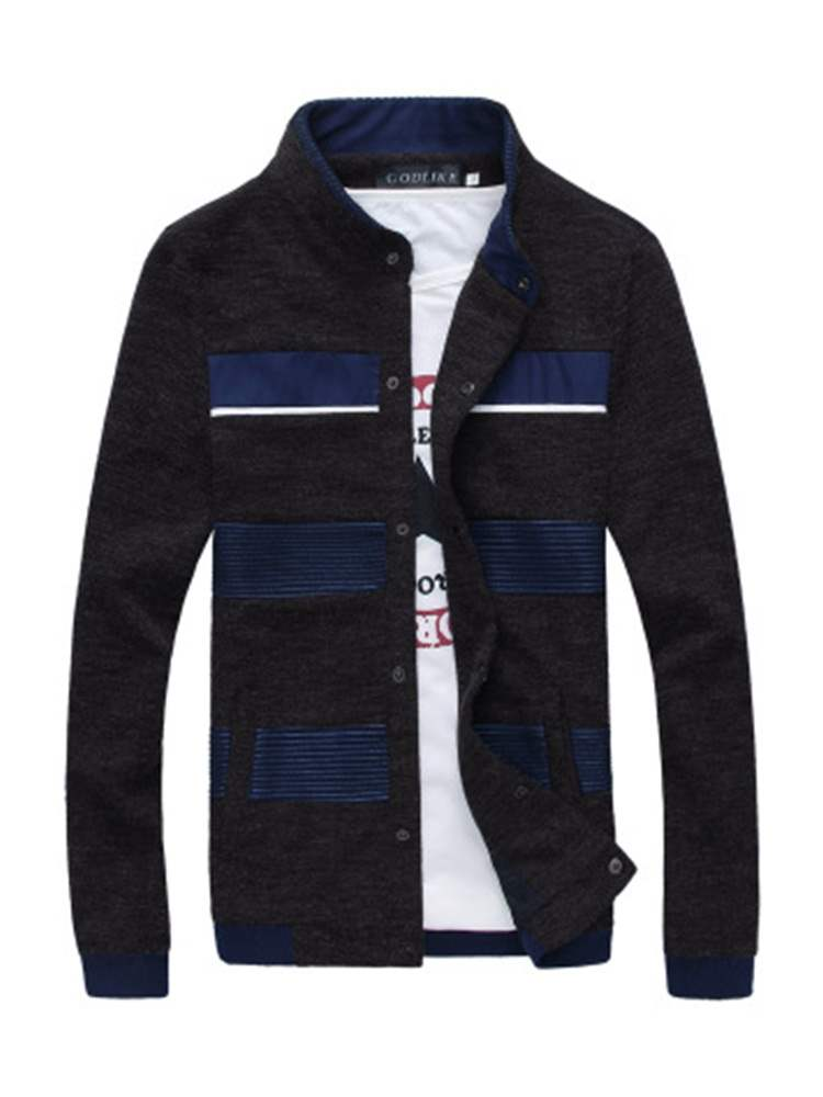 Ericdress Striped Patchwork Stand Collar Mens Casual Jacket