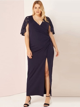 Ericdress Plus Size Ankle-Length Split V-Neck Plain Pencil Dress
