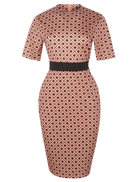 Ericdress Print Half Sleeve Round Neck Standard-Waist Polka Dots OL Dress
