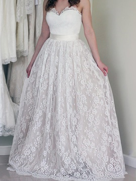 Ericdress Sleeveless Sweetheart A-Line Floor-Length Lace Wedding Dress