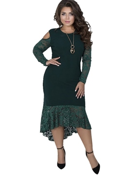 Ericdress Plus Size Asymmetric Mid-Calf Round Neck Plain Elegant Dress