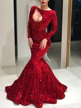 Trumpet/Mermaid Long Sleeves Floor-Length Sequins Evening Dress