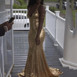 Sexy V Neck Sequins Floor-Length Evening Dress