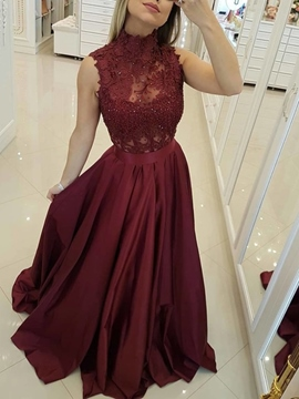 Floor-Length Lace High Neck A-Line Evening Dress