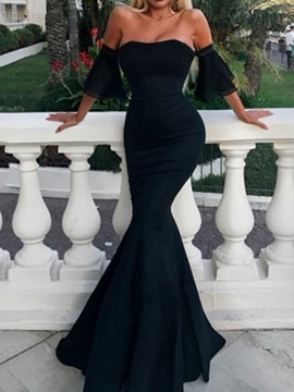 Mermaid Short Sleeves Strapless Evening Dress