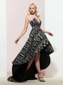 V-Neck Embroidery Lace Asymmetry Prom Dress