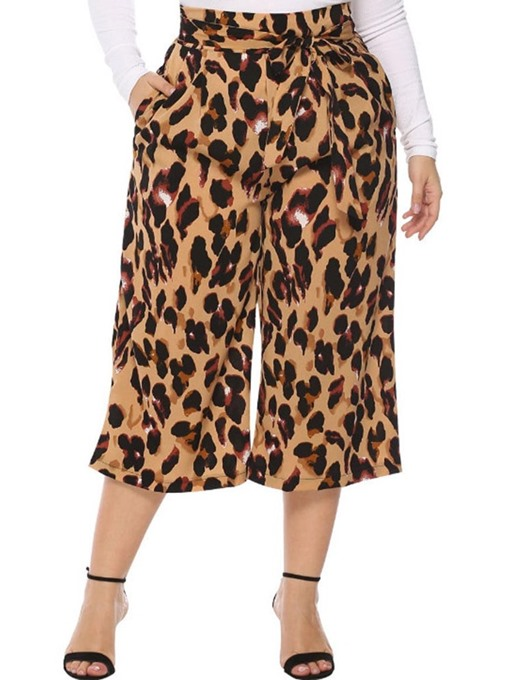 Ericdress Plus Size Lace-Up Loose Leopard Mid-Calf Wide Legs Pants